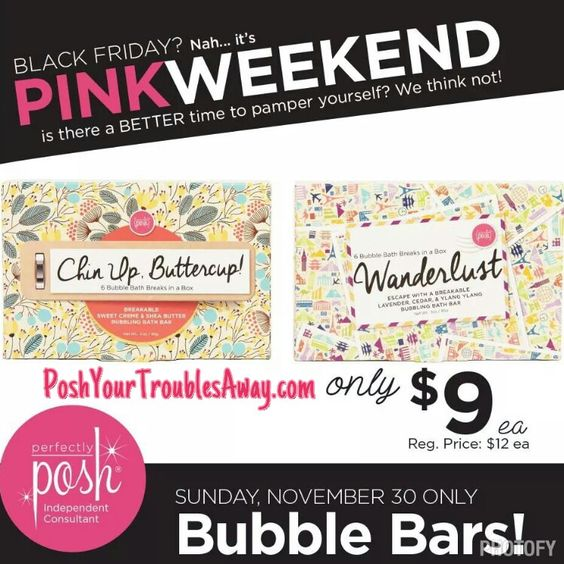 So much excitement is happening this weekend in the Posh World of ours!!! We are turning the weekend PINK with amazing deals, offers and fun!!! So after you are done cooking all day and eating in minutes lol kick your feet up and order online that Posh you have been eyeing all season long! You deserve to be pampered!!! Www.poshyourtroublesaway.com