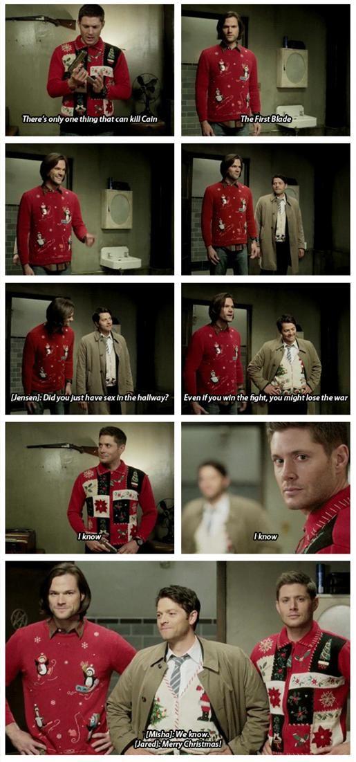 "[gifset] Jensen, Jared and Misha with the xmas sweaters LOL ""I know"" ^_^ #Supernatural season 10 gag reel || Jensen Ackles || Jared Padalecki Misha Collins #Cain || first blade"