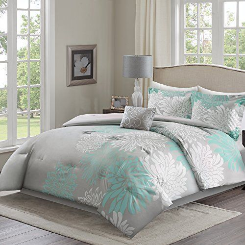 5 Aqua Grey Comforter Set Full Queen Floral Pillowcases Bed Skirt