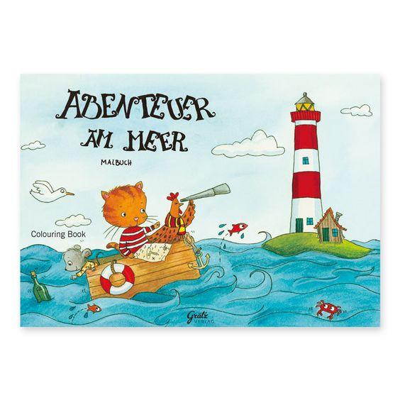 """Liebevoll illustriertes Malbuch """"Abenteuer am Meer"""" https://www.graetz-verlag.de/malbuch-meer"""