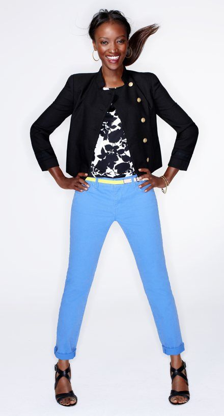 Wear bold blue pants with a crisp blazer and break it up with a graphic blouse.  Modern Rolled Cuff Straight Leg Jeans in Stretch Cotton Twill- Style #272942