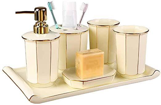 Ql Qianlijiaji Bathroom Accessories Set European Ceramics Simple Creative Octagonal Bathroom Acc Bathroom Accessories Sets Bathroom Accessories Brushing Teeth