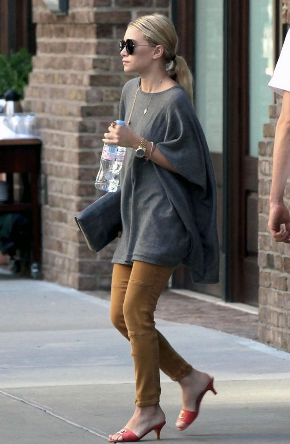 kitten heels and slouchy outfit