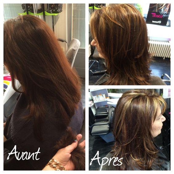 un avant aprs sympas dun cheveux long on est pass un carr - Color Out Avant Apres