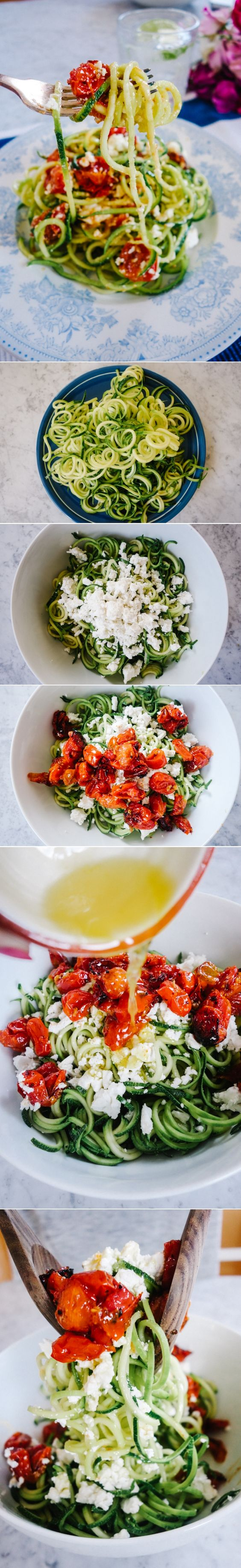 Lemon, Tomato and Feta Coodles - The Londoner #courgetti #spirilizer #lowcarb