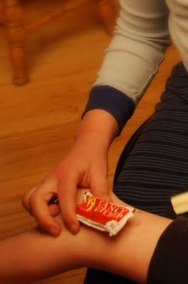 Ketchup packets as icepacks. They are the perfect size for kid bumps and bruises and they stay soft so they can form to the body part