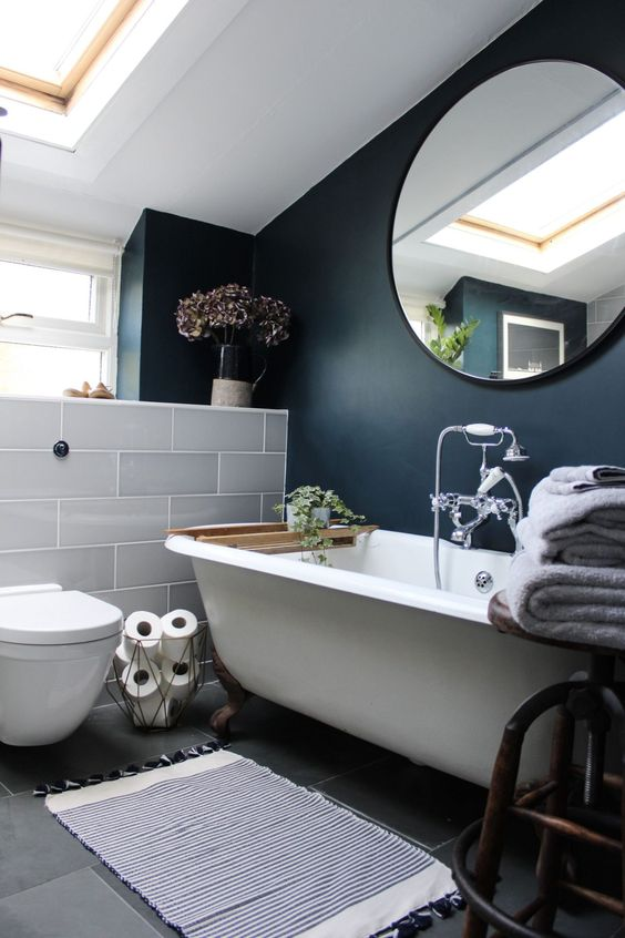 The wonderful Cara Sutherland from Within These Walls chose our Attingham Mist tiles for her dramatic bathroom makeover