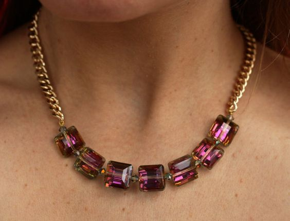 Square Crystals Collar Vitrail Shade by DesignsbyStacyLee on Etsy - Faceted puffed square fuchsia crystals statement necklace