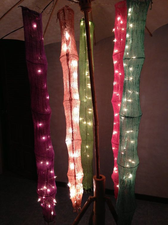 Hanging cotton net 1.5 m. with 20 Bulbs string lights by ginew, $9.98