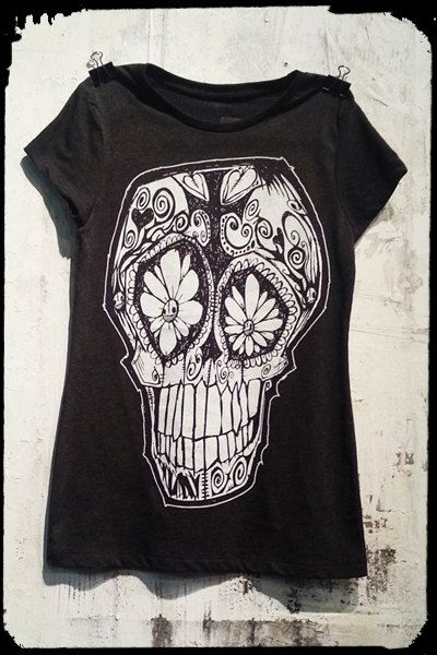 Women''s HandScreen Printed T Shirt in Charcoal by PlaydeadCult, $25.00
