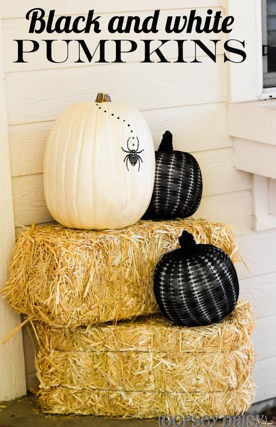 Black and White pumpkins {tutorial}