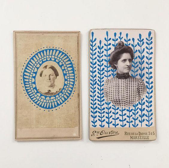 decalque de fotos antigas garimpadas com padronagens pintadas à mão