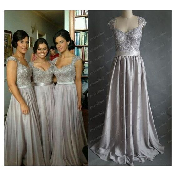 New Silver Grey Bridesmaid Dress Scoop Lace Prom Dresses A Line Long... ❤ liked on Polyvore featuring dresses, gowns, long bridesmaid dresses, lace maxi dress, long formal evening gowns, formal evening gowns and lace formal gown