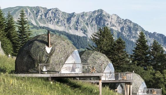 The Whitepod Summer Escape includes 15 dome homes in the Swiss Alps.