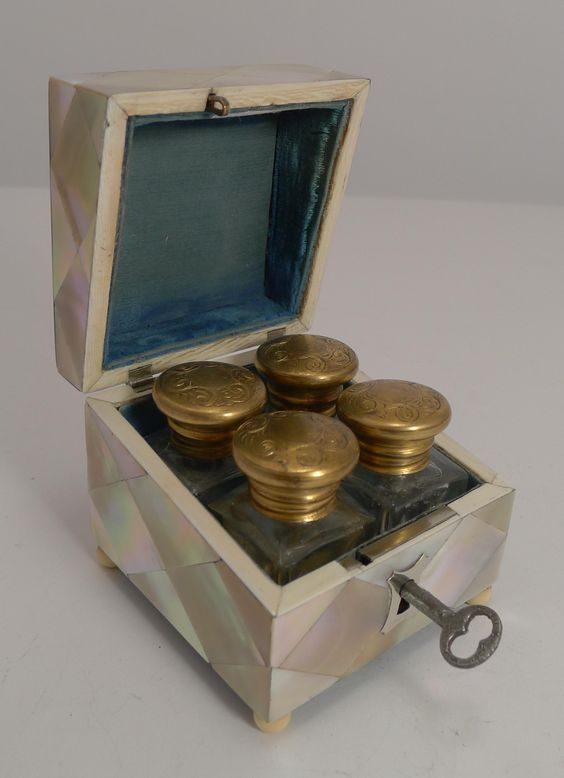 Superb Antique English Mother of Pearl and Abalone Scent Bottle Box from…