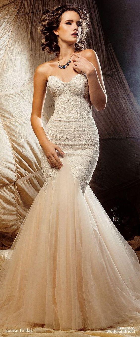 Mermaids shape and 2016 wedding dresses on pinterest for Mermaid shape wedding dress