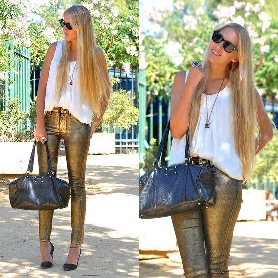 Calça dourada na moda Fashion