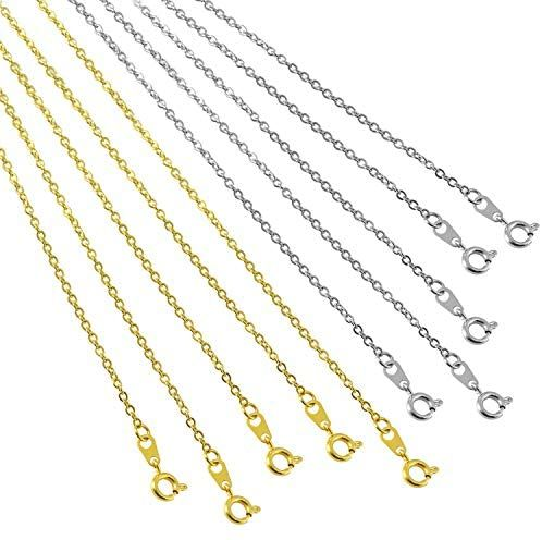 Blulu 24 Pieces Silver or Gold Plated DIY Chain Necklace for Jewelry Making Supplies and Craft 24 Inch, Gold