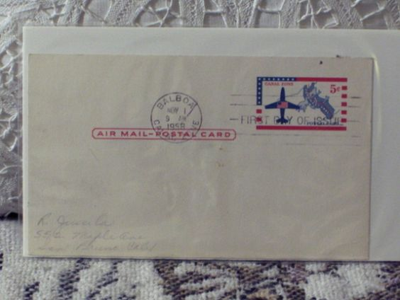http://ajunkeeshoppe.blogspot.com/  First Day Issue/Cover-Stamp-1958 Airmail Panama Card Canal Zone 8ozP724B4HP1141