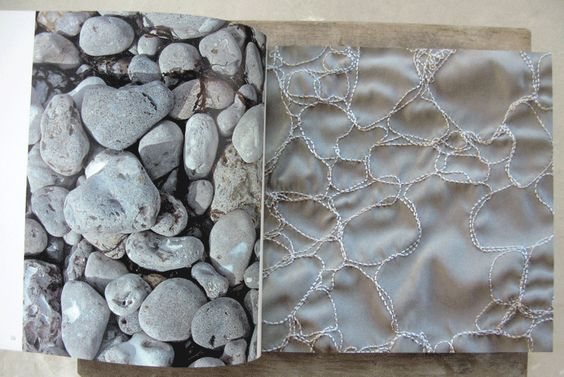 Drawing With Stitch - textile surface patten using free motion machine stitching to create pebble patterns & texture // Francoise Tellier-Loumagne