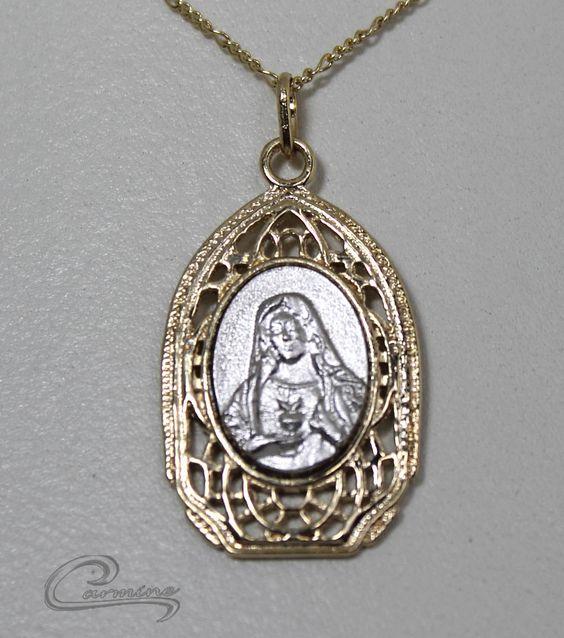 Pingente Imaculado Coração de Maria - 10 camadas de ouro 18k - Joias Carmine