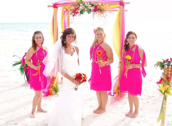 #hot Pink, tropical wedding canopy