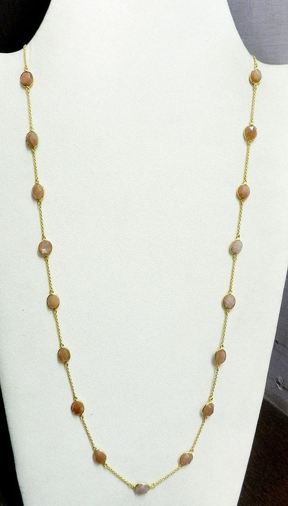Peach moonstone Bezel Setted Brass Gold Plated Long Chain Gemstone Necklace #Handmade #Chain
