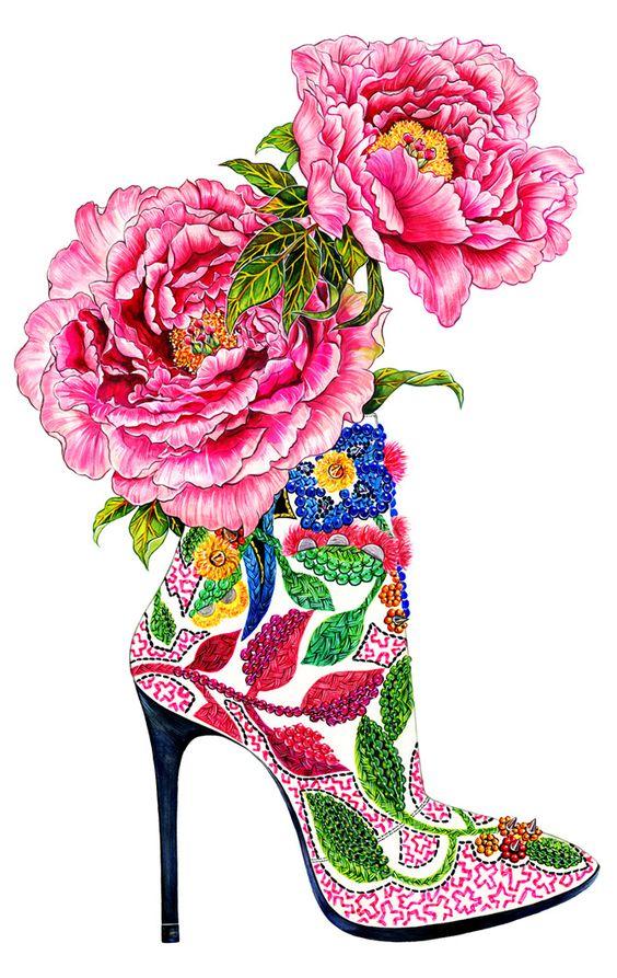 Shoe Addiction - Inspired by pink peonies & Barbara Bui High Heel - Fashion illustration by Sunny Gu.