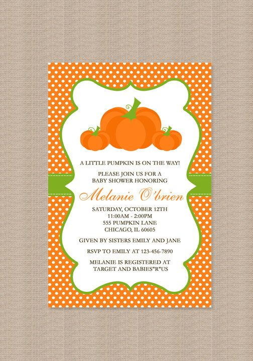 Pumpkin Baby Shower Invitation by Honeyprint on Etsy, $15.00