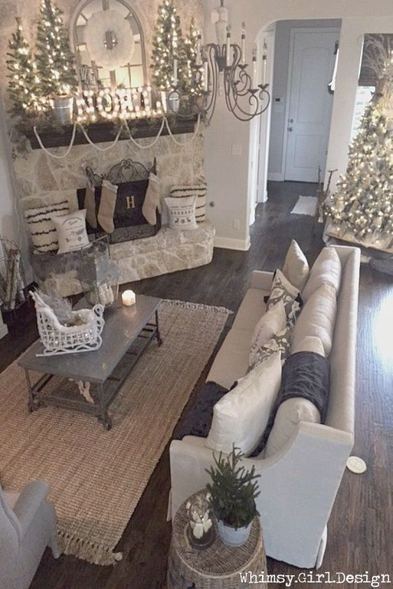 All is calm, all is bright....adding textured pillows and festive holiday accents from HomeGoods transformed this neutral living room into a cozy, winter wonderland! {Sponsored Pin}: