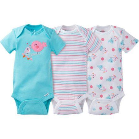 Gerber Newborn Baby Girl Onesies Bodysuits Assorted, 3-Pack, Size: 3 - 9 Months, Blue