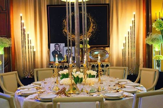 how to decorate a dining table with a james bond theme
