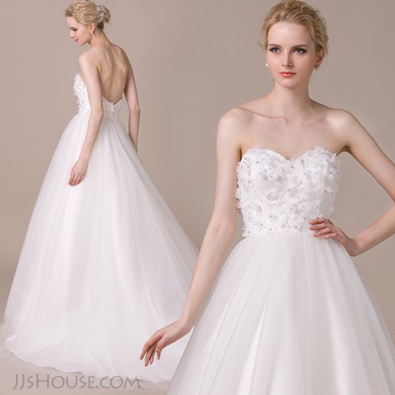 Beautifully designed ball-gown sweetheart chapel train gown with flowers. <3