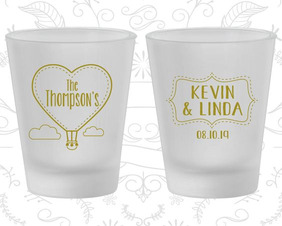 Love is in the Air, Wedding Frosted Glasses, Hot Air Balloon Wedding, Love Wedding, Frosted Shot Glass (228)