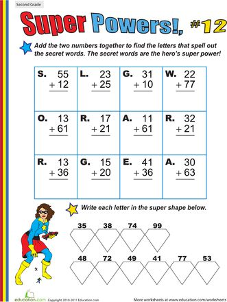 Super Powers! Two-Digit Addition #12   Pinterest   Worksheets ...