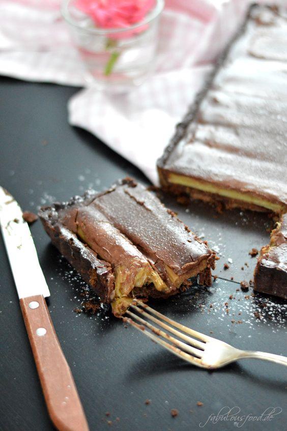 ♥ Rhabarber-Schokoladen-Tarte {saurer Rhabarber und Schokoladenganache, eine himmlische Kombination}