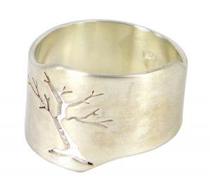 Pierced Tree abstract ring in sterling silver  $350
