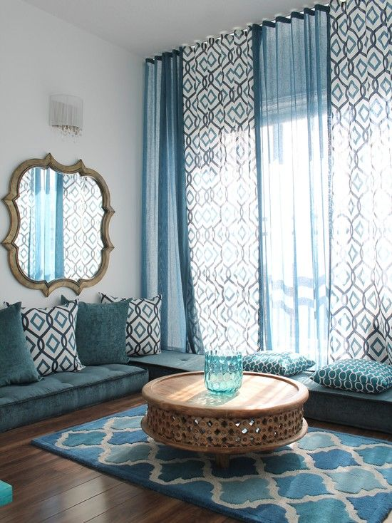 blue curtains living room. Bedroom Design  Mediterranean Living Room With Blue Curtains Ideas Also Carpet Seat And Cushions Dark Brown Floorboards Anti