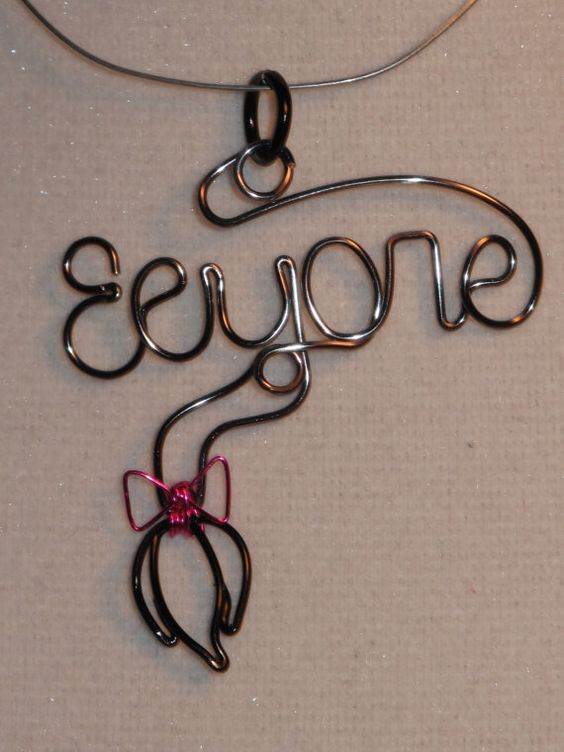 Wire Wrapped EEYORE Spelled Pendant With Eeyore's by 1ofAkinds, $10.00