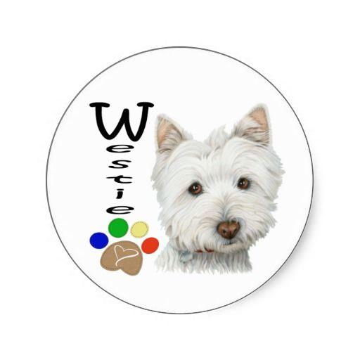 Cute Westie Dog and Paw Art Round Stickers