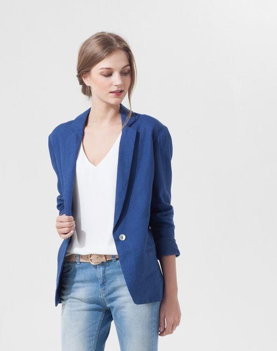 Veste casual bleue Charlotte Vestes 1-2-3.fr