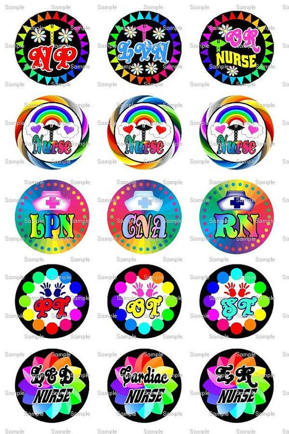 Nurse Rainbow Bottle Cap Images 4x6 Bottlecap by designsbyPM