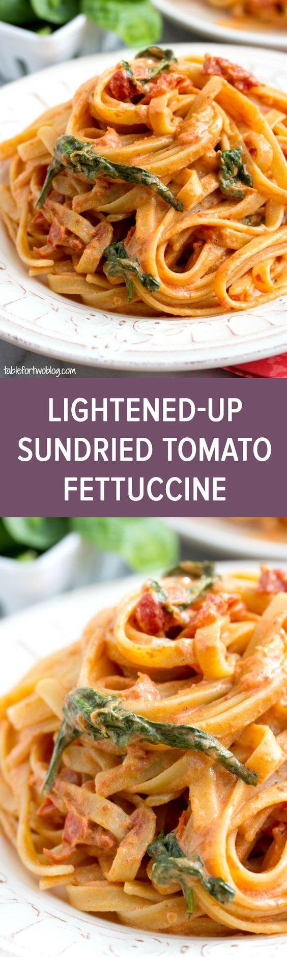 Cheesecake Factory Copycat: Sundried Tomato Fettuccine [Lightened Up] via tablefortwoblog.com