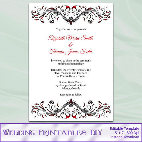 Red and Black Wedding Invitation Template Diy Birthday Bridal – Word Document Invitation Template