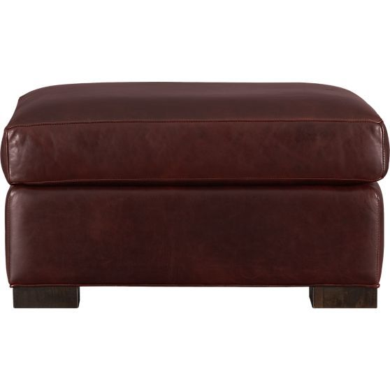 Axis ii leather ottoman crate and barrel ottomans and for Crate and barrel pouf
