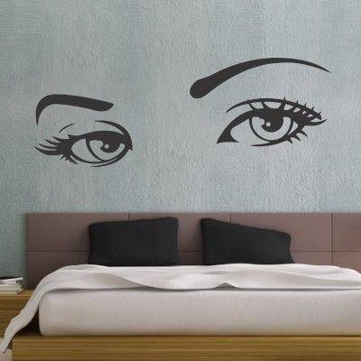 """Occhi Di Donna  Adesivo murale di alta qualità con pellicola opaca di facile installazione. Lo sticker si può applicare su qualsiasi superficie liscia: muro, vetro, legno e plastica.  L'adesivo murale """"Occhi Di Donna"""" è ideale per decorare la camera da letto"""