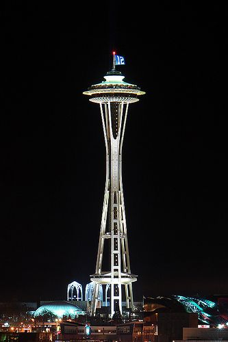 The Seattle Seahawks won their playoff game against the Washington Redskins tonight and the Space Needle is flying the 12th man flag.