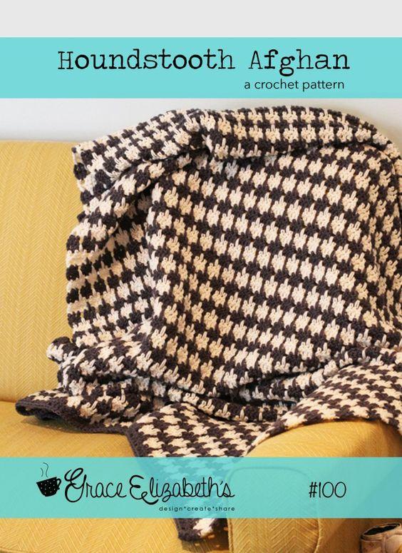 free crochet pattern houndstooth afghan Knitting & Crochet Pinterest ...