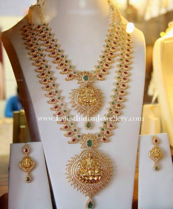 Bridal Diamond Necklace And Haram Set: Mango Mala Necklace Haram Set