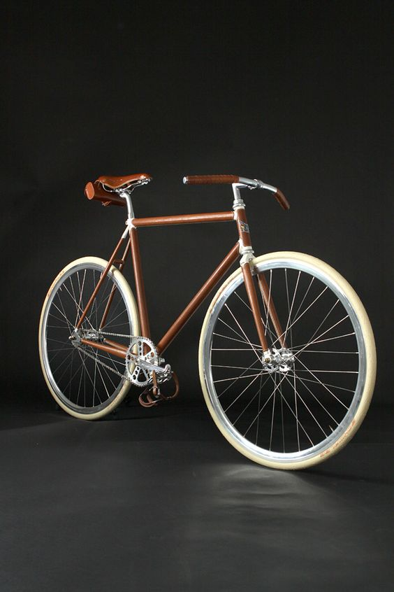 Leather covered fixie. (!) I would ride this just so no one thinks I even attempt to be like the serious cyclists around here.